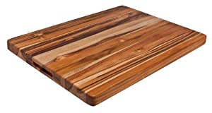 Proteak 24-Inch by 18-Inch by 1-1/2-Inch Rectangular Cutting Board with Hand Grip and Legs, Edge Grain