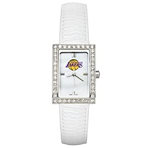 CZNSW22414Q-w-White Leather Los Angeles Lakers Watch with Cz Frame by NBA Officially Licensed