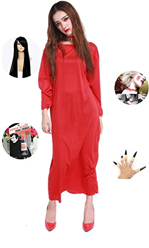 [Absolutly Perfect Sadako Halloween Super Horror Scary Cosplay Costume Dress Red with Black Hair One] (Little Girl Scary Clown Costume)