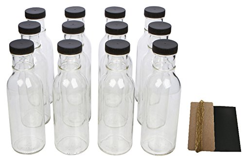 Clear Wide Mouth Glass Bottles for Beverage, Sauce and Decorations with Black Lids, Safety Shrink Wrap Seals and Tags, 12 oz, Pack of 12 (Hot Sauce Bottles Empty 12 Oz compare prices)