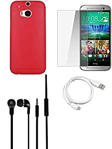 NIROSHA Tempered Glass Screen Guard Cover Case Headphone USB Cable for HTC Desire M8 - Combo