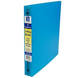 C-Line 3-Ring Poly Binder with Inner Pocket, Letter Size, 1-Inch Capacity, Color May Vary, 1 Binder (31710)