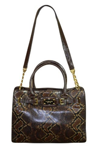 Michael Kors Hamilton Lg Ew Tote Chocolate Python Leather