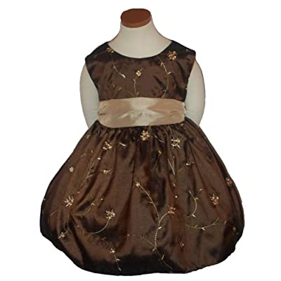 New Chocolate Brown & Taupe Embroidered Dress 6M to 24M