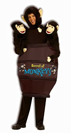 Std Size Adult (Up to 42 Men) Barrel of Monkeys Funny Costume 2 Monkey Puppets Included! (shoes, pan
