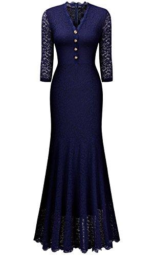 Miusol Women's Retro V Neck Floral Lace 2/3 Sleeve Wedding Party Maxi Dress