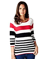 Per Una Pure Cotton Nautical Striped Knitted Jumper