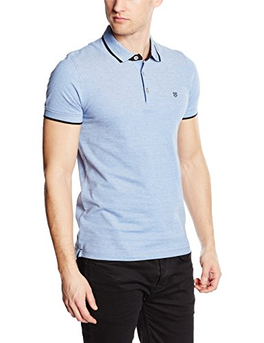 Jack & Jones JJPRPAULOS POLO SS NOOS-T-shirt  Uomo, BLAU (BRIGHT COBALT FIT:MIXED WITH WHITE - SLIM FIT), Medium (Taglia Produttore: Medium)