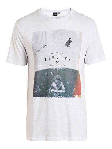 Rip Curl T-shirt da uomo Good Day Bad Day tè, Uomo, T-Shirt Good Day Bad Day Tee, Bianco/Grigio, M