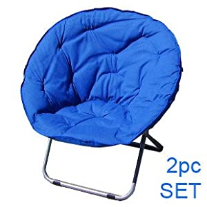 Set Of 2 Folding Blue Papasan Dish Moon Sphere Chair