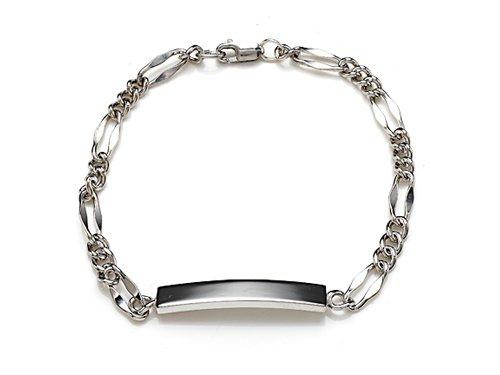Sterling Silver Children ID Bracelet with Figaro Chain LIFETIME WARRANTY