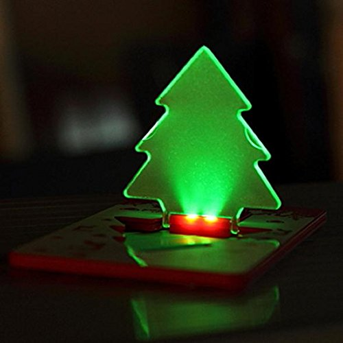 Hkbayi 5Pcs A Lot / 5X Xmas Tree Shape Led Pocket Lamp,Mini Portable Folding Led Pocket Wallet Credit Card Light Merry Christmas Tree (Green)
