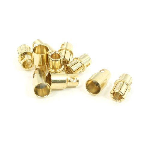 5 Pair 8mm Gold Tone Metal Bullet Plug Female Male Connector for RC Helicopter - 1