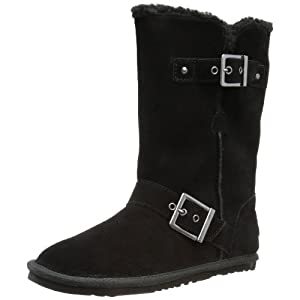 A tough look with a warm side comes in the SKECHERS Starship - Star Shooter boot. Soft suede upper in a slip on casual mid calf height engineer style cool weather boot with stitching and strap detail. Soft fleecy faux fur shaft lining adds warmth. So...