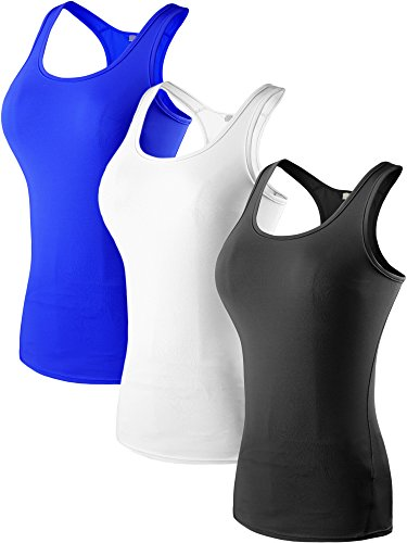 Neleus Women's 3 Pack Compression Athletic Tank Top for Yoga Running,Black,Blue,White,US S,Asia M