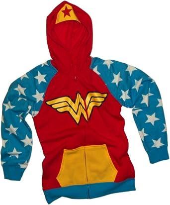 Dc Comics Wonder Woman Junior Girls Red Hoody Red Small