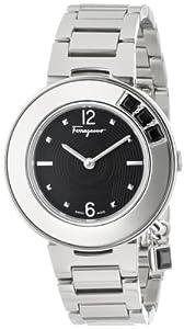 Salvatore Ferragamo Women's F64SBQ99909 S099 Gancino Sparkling Silver/Black Stainless Steel Watch by Salvatore Ferragamo