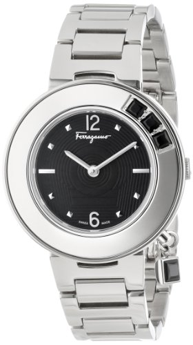 Ferragamo Women's F64SBQ99909 S099 Gancino Sparkling Silver/Black Stainless Steel Watch