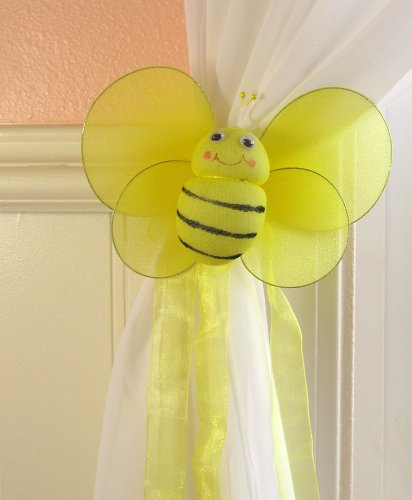 Bumble Bee Curtain Tieback - Sold Individually - Bumblebee Drapes Tie Back Holdback Hold Back Yellow Cute Bees Child Baby Nursery Room Bedroom Decor Decoration Fastener