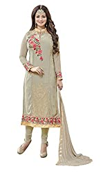 Pari Presents Grey Coloured Embroidered Dress Material