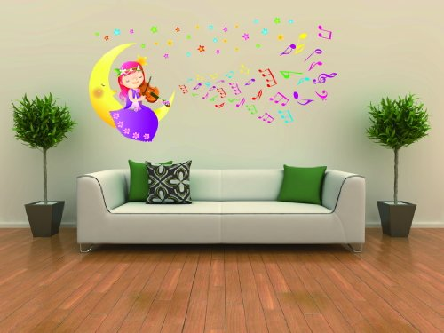 Kappier Purple Angel Playing Violin with Jumping Notes Over the Moon Peel & Stick Wall Decals