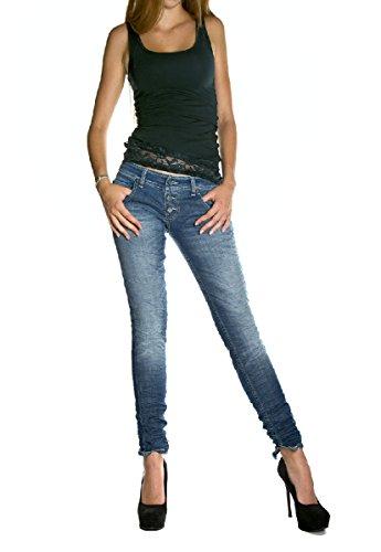 PLEASE - P83 jeans da donna stropicciato l denim scuro