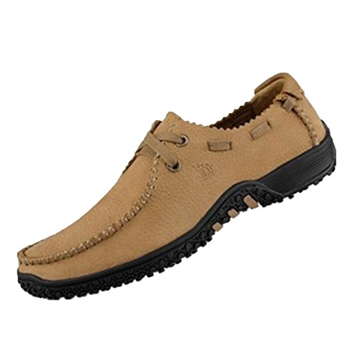 spades-clubs-leather-mens-fashion-casual-mocha-bean-sole-flat-walking-shoes-size-7-uk-khaki