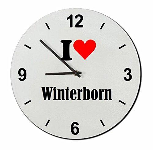 """Regali Esclusivi: Orologi da parete """"I Love Winterborn"""", un Grande regalo viene dal Cuore - Ti amo - Orologio vetro - Punte di Natale"""