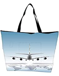 Snoogg Aircraft Landing On The Earth Waterproof Bag Made Of High Strength Nylon