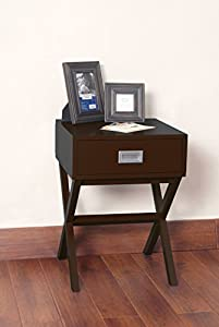 Espresso Finish Modern X-Shape Accent Side End Table Nighstand with Drawer