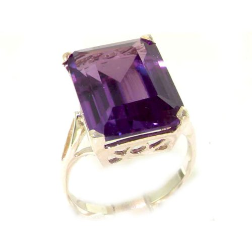 Luxury Solid Sterling Silver Large 16x12mm Octagon cut Synthetic Alexandrite Ring - Size 12 - Finger Sizes 5 to 12 Available - Suitable as an Anniversary ring, Engagement ring, Eternity ring, or Promise ring