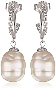 Majorica Pearl Twisted Steel Drop Earrings