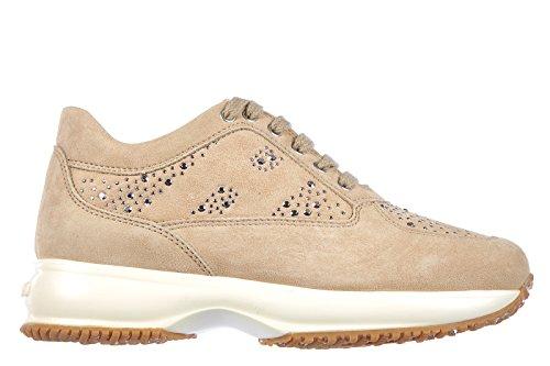 Hogan scarpe sneakers bambina camoscio nuove interactive explosion beige EU 32 HXC00N0L311CR0C211