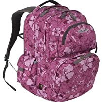 JanSport Firewire Backpack (Purple Satin Hibiscus Sketch)