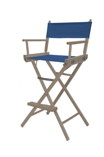 Telescope Casual Heritage Bar Height Director Chair, Rustic Grey Finish With Blue Canvas Fabric