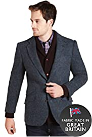 Sartorial Pure Wool Harris Tweed Herringbone Jacket