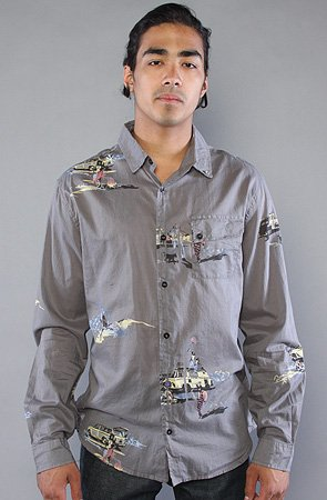 Insight The Nude With Boots Buttondown Shirt in Floyd Black,Buttondown Shirts for Men