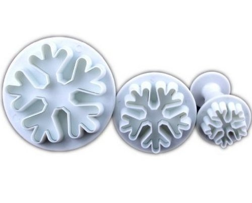 Allforhome Set Of 3Pcs Big Snowflake Plunger Cutter Cake Decorating Fondant Embossing Tool front-690698