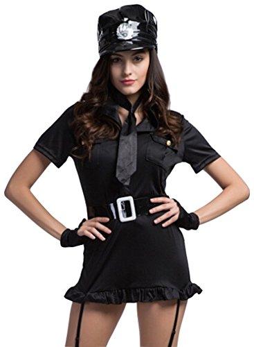 Deluxe Sexy Police Uniform Halloween Costume Fancy Dress Outfit (Police Fancy Dress Women)