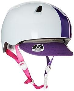 Bern Girl's Nino Zip Mold Helmet with Flip Visor - White/Purple Racing Stripe, X-Small/Small/48-51 cm