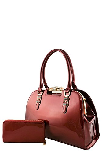 womens-designer-faux-leather-2-in-1-stylish-patent-doctor-bag-set-va2020-wine