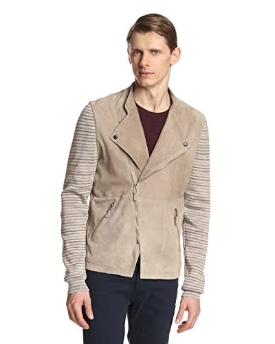 Vivienne Westwood Men's Leather Jacket with Knit Sleeves