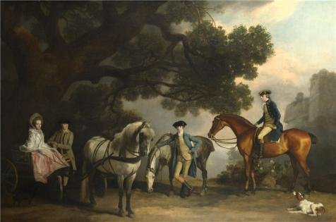 'George Stubbs - The Milbanke And Melbourne Families,about 1769' Oil Painting, 16x24 Inch / 41x61 Cm ,printed On Perfect Effect Canvas ,this Vivid Art Decorative Prints On Canvas Is Perfectly Suitalbe For Game Room Decor And Home Decoration And Gifts