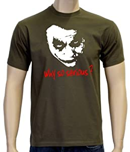 Coole-Fun-T-Shirts Herren T-shirt Why So Serious ? Joker, Oliv, S, 10868 by Coole-Fun-T-Shirts