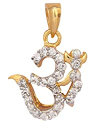 Vama Collections One Gram Gold Plated Om Omm Pendant With Cubic Zirconia Diamond For Men Women Children - B00ORNIRWE