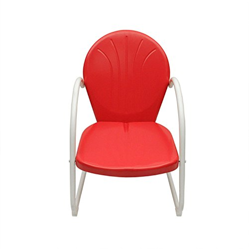 Vibrant Red and White Retro Metal Tulip Chair