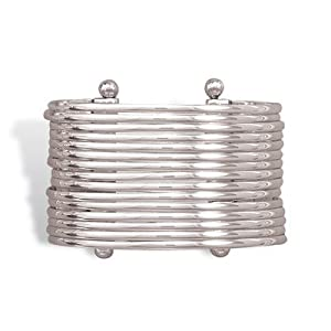 Sterling Silver Handmade 15 Band Cuff Bracelet Bracelet Measures 43mm - JewelryWeb