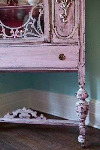 Antique China Cabinet Shabby Chic Pink Distressed Cottage Prairie 3