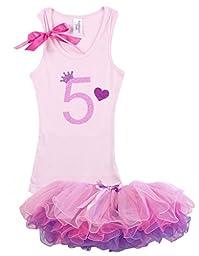 Bubblegum Divas Little Girls\' 5th Birthday Shirt Princess Tutu Outfit 6X