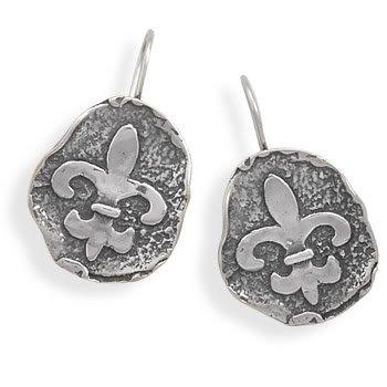 Oxidized Fleur -de -Lis Wire Earrings